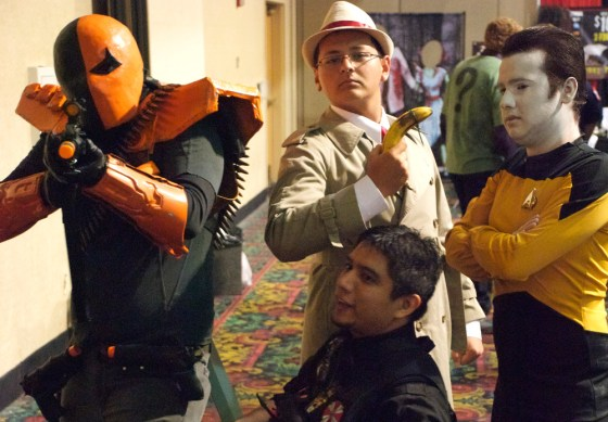 Cosplays of Deathstroke, Inspector Gadget, Data from Star Trek, and a Raccoon City Resident Evil SWAT Member