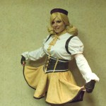 Heather Irete in handsewn Mami cosplay dress from Magica Madoka