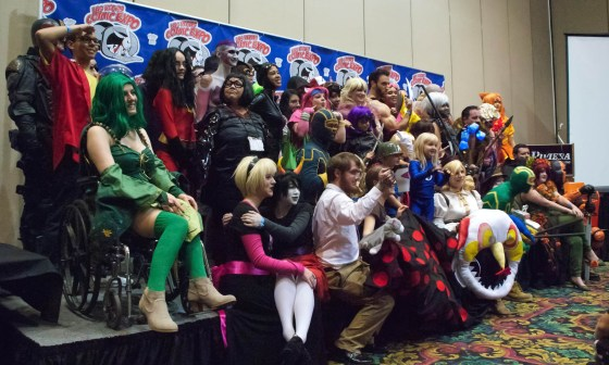 Every Las Vegas Comic Expo 2013 Cosplay Contestant in costume crowded into a group shot