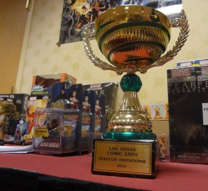 Trophy Reading Las Vegas Comic Expo Heroclix Invitational 2013 with Heroclix on table