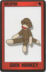 Card art illustration of Sock Monkey for Deadfellas Zombie Mobster Card Game