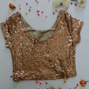 % rose gold sequin crop top