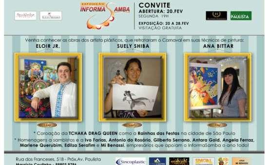 aberta até 28 de fevereiro, entrelaçando as técnicas de pintura dos artistas plásticos Eloir Jr., Suely Shiba e Ana Bittar