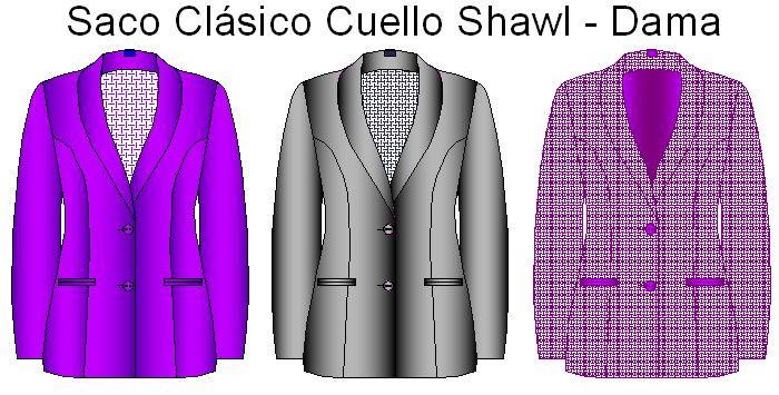 Moldes de saco clásico de vestir estilo cuello shawl