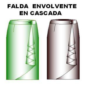 Moldes de Falda Modelo Envolvente en Cascada