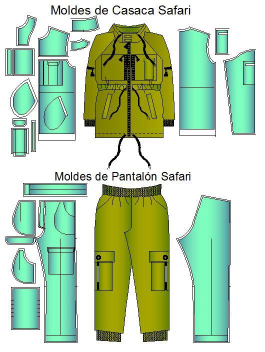 Tallaje del conjunto o comando safari casaca y pantalon.