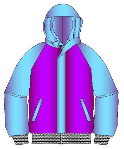 Tallaje de chamarra manga estilo raglan con su capucha