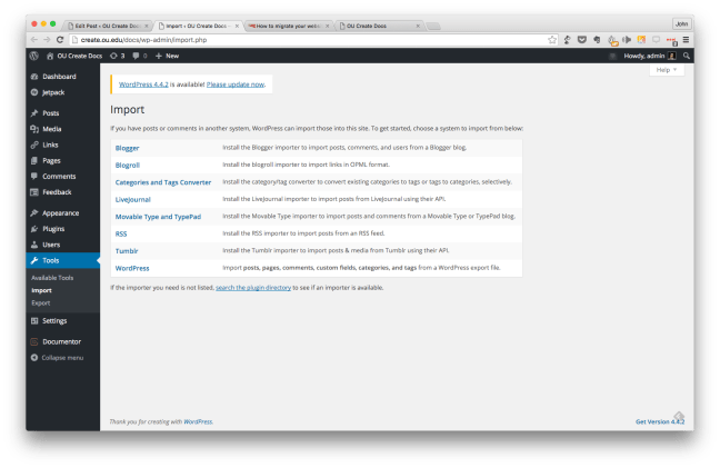 The import screen within the WordPress CMS