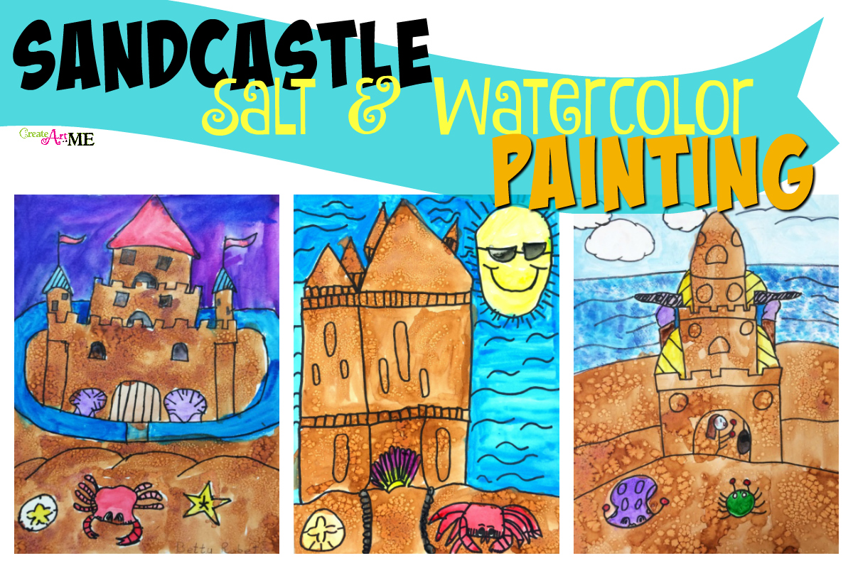 Sandcastle Salt and Watercolor Painting Art Project
