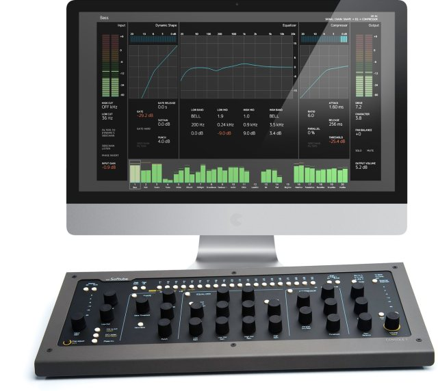 Seen with the computer heads-up display, Softube has made both original software (running on your CPU) and hardware (for control, just of that software) to produce a unique mixing workflow.