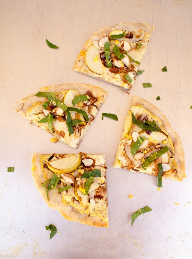 Apple and Tofu Ricotta Pizza - This white pizza is light and crunchy. Lemon zest and balsamic vinegar add a brightness that you wouldn't find in a typical pizza.