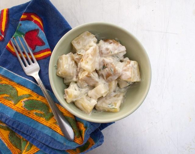 Vegan Tzatziki Potato Salad (gluten free) - Tzatziki is a Greek sauce that is served as a dip. Here I have used it to dress some Yukon Gold potatoes.