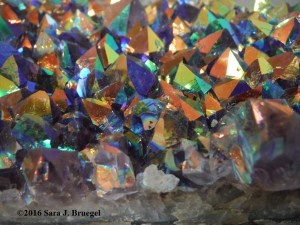 Rainbow amethyst geode section.  Photo copyright Sara J. Bruegel, 2016