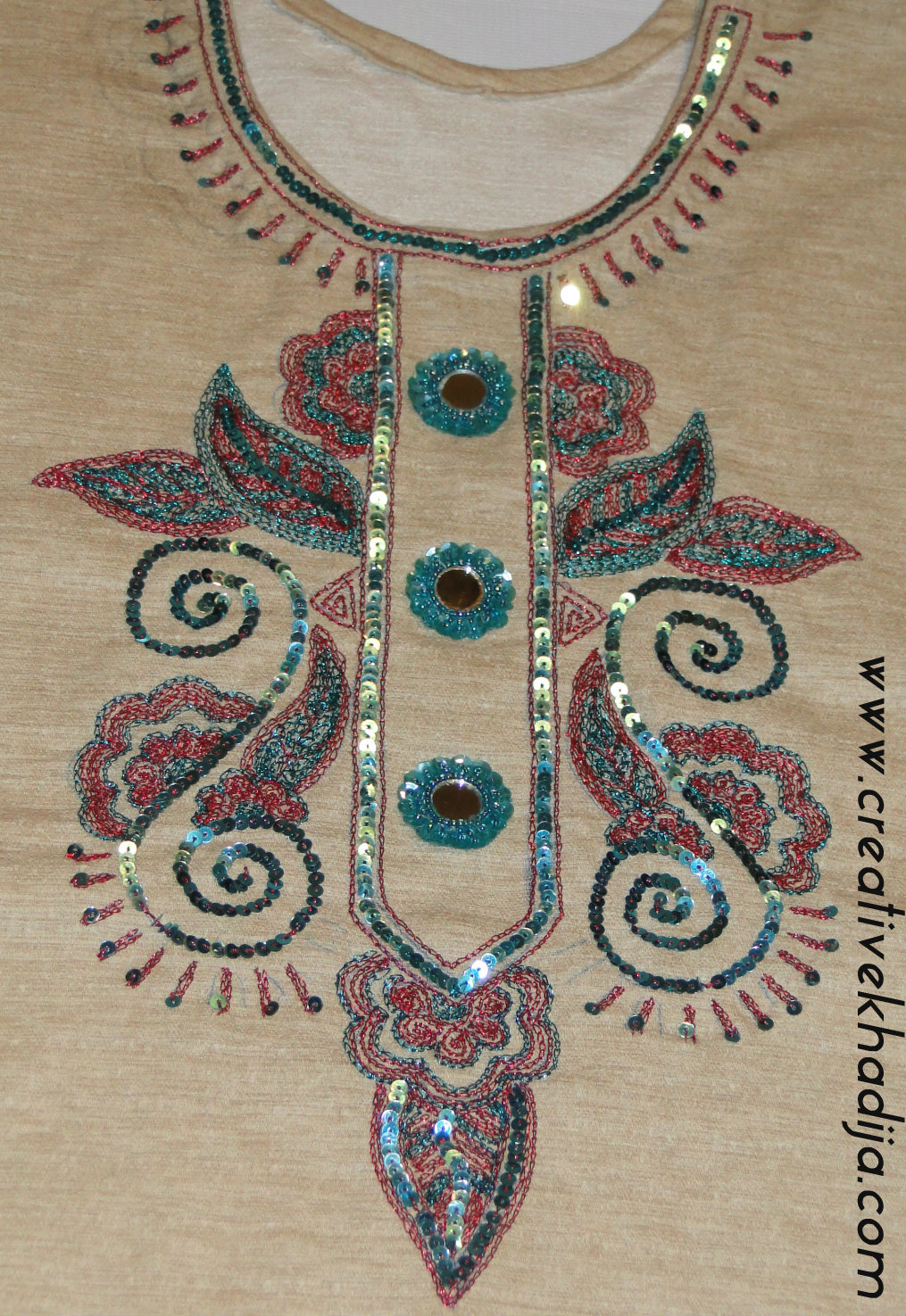 hand embroidery on shirt neckline
