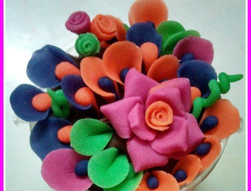 dough flowers basket making
