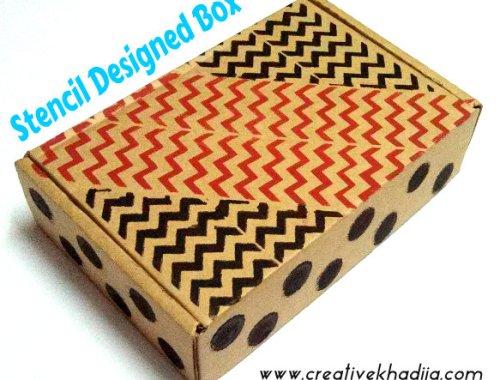 gift box design with stenciling technique