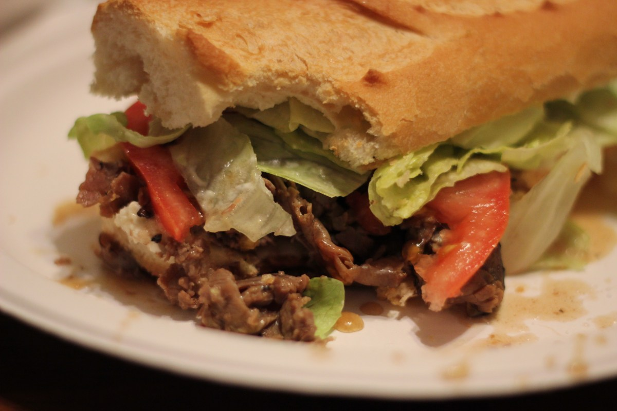 Easy Crockpot Roast Beef Poboys with Debris