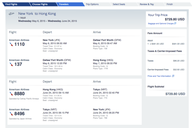 AA:NYC-HKG to and from $ 730, based on the acquired