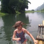 Emma splashes in.