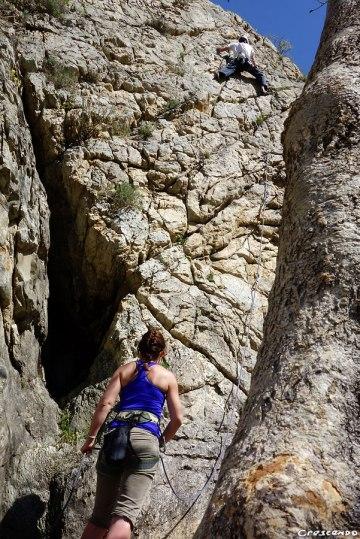 apprendre l'escalade, escalade en falaise, Rocher Baron, escalade Guillestre