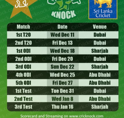 Pakistan vs Sri Lanka Fixtures 2013-14