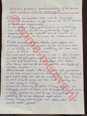 Brief geschreven door de verdachte zelf (1/3) © crime-nieuws.nl