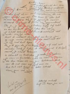 Vertaling van de brief die de verdachte in de gevangenis kreeg © crime-nieuws.nl