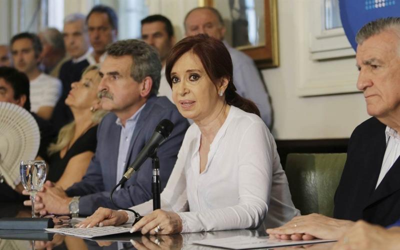 Cristina en la conferencia de prensa.