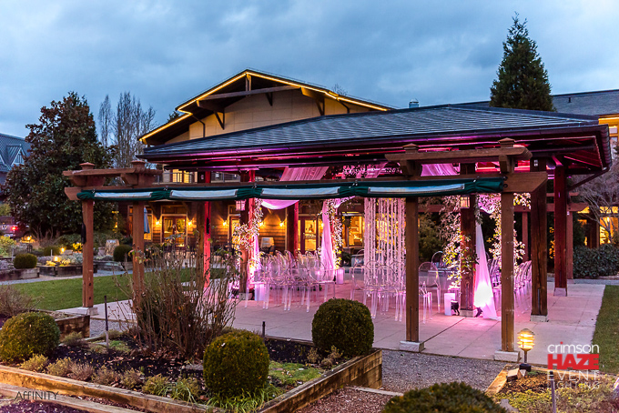 Weddings in Woodinville, Willows Lodge. Lighting by Crimson Haze