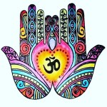 hands love art rainbow om balance give and receive