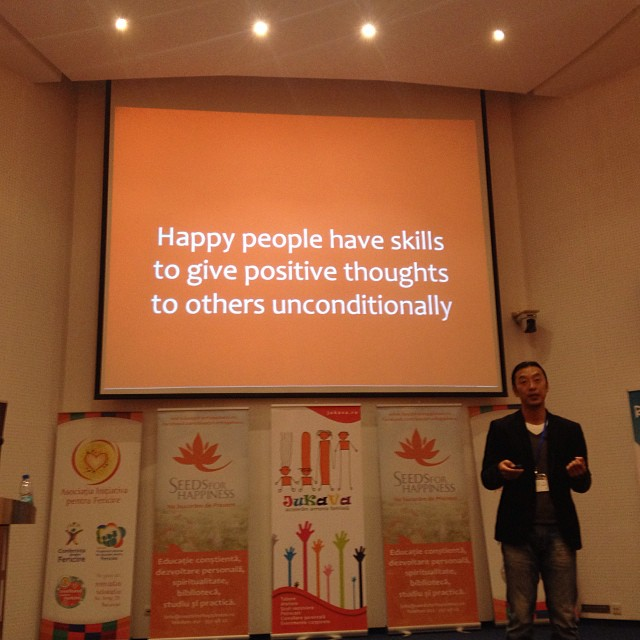 happy people have skills to give positive thoughts to others unconditionally