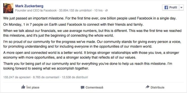 un milion de utilizatori intr-o singura zi pe Facebook