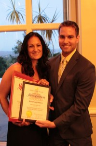 Zina Gleason, CSCF Board Director, accepting the Small Business of the Year Award. Photo: Fullerton Chamber
