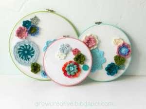 crocheted flower hoops wall decor