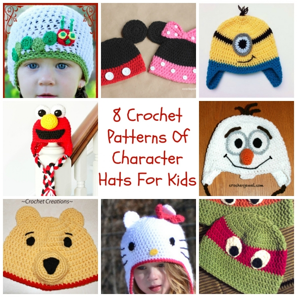 Knitting Patterns For Childrens Characters : 8 Crochet Patterns Of Character Hats For Kids   Crochet