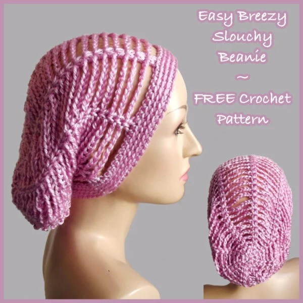 Easy Crochet Slouchy Hat Patterns : Easy Breezy Slouchy Beanie ~ FREE Crochet Pattern