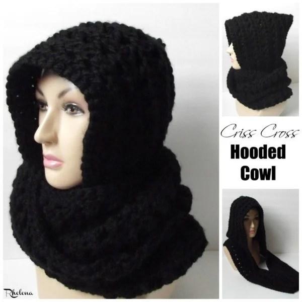Criss Cross Hooded Cowl - CrochetNCrafts