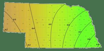 Average September precipitation in Nebraska
