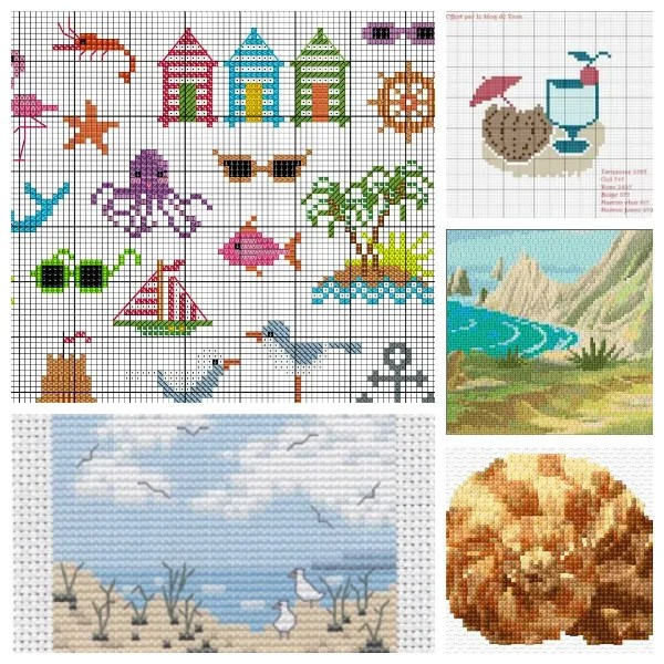 Beach-themed cross-stitch patterns.