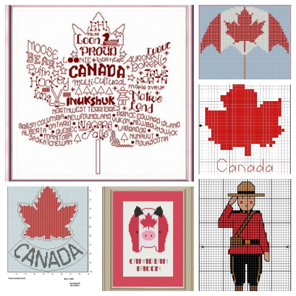 Cross stitch patterns to celebrate Canada Day.