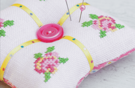 Cross Stitch Roses Pincushion