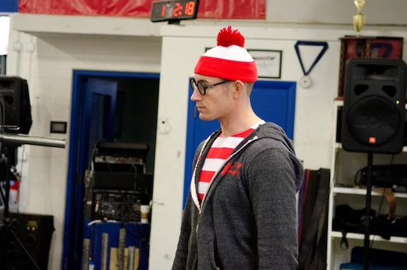 This picture is from last week. Kev and I have been playing this game where he dresses up as Waldo and hides in large groups. Sometimes he makes it so easy... Come on Kev you can do better than this!