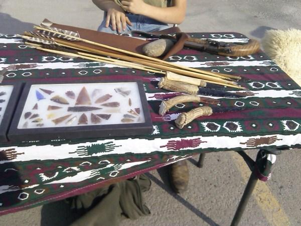Arrowheads and flint knives.
