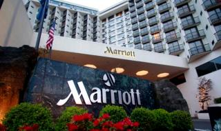 Portland Marriott Downtown Waterfront is shown Wednesday, April 20, 2011, in Portland, Ore. Marriott International Inc., reports quarterly financial earnings Wednesday, April 20, 2011, after the market close.(AP Photo/Rick Bowmer)