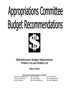 The original Appropriations Committee's cover for its 2011-13 Budget Recommendations.