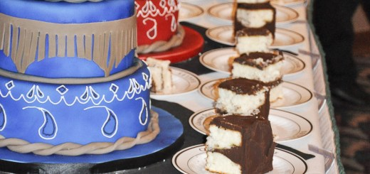 Two decorated paisley cakes sit on a table during the event Saturday. —Photo by Sara Rollenhagen
