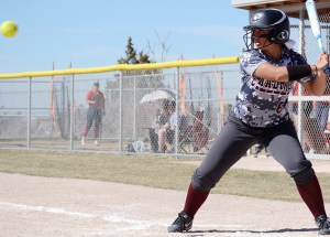 Aspen Eubanks (6), junior of Broomfield, Colorado, prepares to hit the first of her two home runs at the CSC Softball Field, Saturday. The Eagles took on the CSU-Pueblo ThunderWolves in four games throughout the weekend.— Photo by Torri Brumbaugh