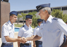 U.S. Air Force Academy Superintendent Lt. Gen. John Regni visits with cadets on the Terrazzo. The general has served as the Academy's leader since October 2005 and will retire later this year.