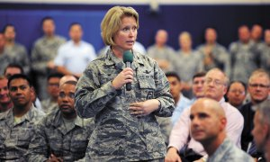 U.S. Air Force photo/Dennis Rogers Col. DeAnna M. Burt, 50th Space Wing commander, addresses wing members during her first commander's call at the fitness center Monday at Schriever Air Force Base, Colo. Burt succeeded Col. William J. Liquori Jr. following a change of command ceremony Friday.