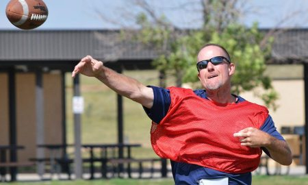 U.S. Air Force photos/Brian Hagberg Mike Owens, 4th Space Operations Squadron, throws a pass during an intramural football game at Schriever Air Force Base, Colorado, Tuesday, Sept. 6, 2016. 4 SOPS, the defending champions, dropped a 27-0 decision to the 50th Security Forces Squadron to drop to 2-2 on the season while 50 SFS improved to 4-1.